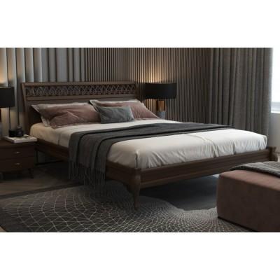 Кровать деревянная Дублин декор 140х200 (орех)