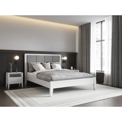 Кровать деревянная Верона 160х200 с мягким изголовьем ArtWood (Белая)